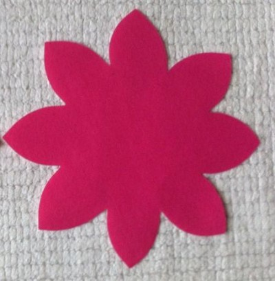 Hot Pink Poly Cotton Flower Applique small