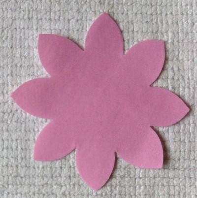 Pink Poly Cotton Flower Applique small