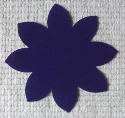 Purple Poly Cotton Flower Applique Small