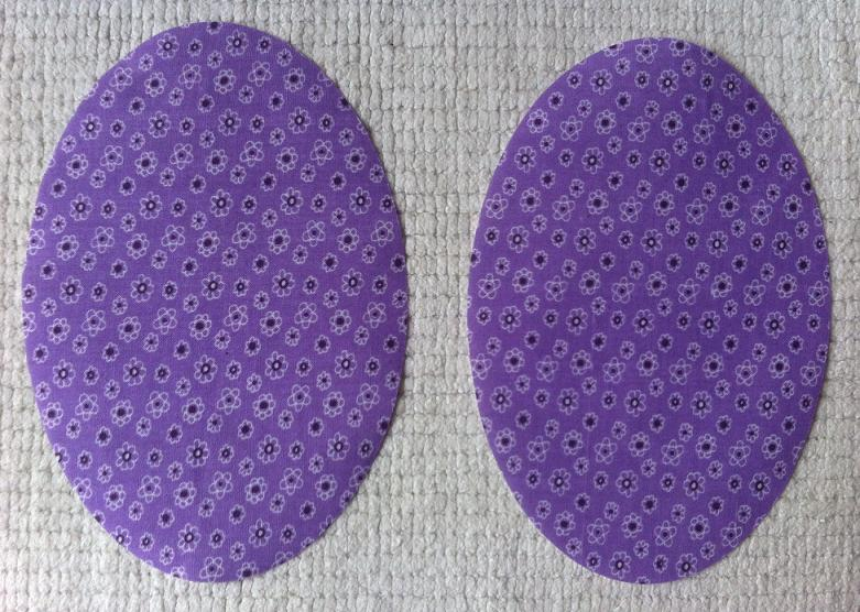 purple ditsy oval elbow patch small