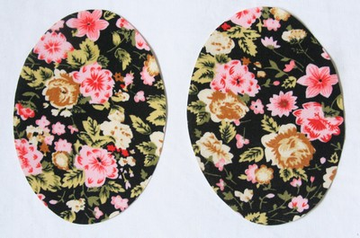 18 Black and pink floral Elbow or Knee Patches by Vintage-Patch Small