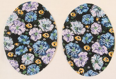 30 Blue and Yellow Floral Print Elbow or Knee Patches by Vintage-Patch small