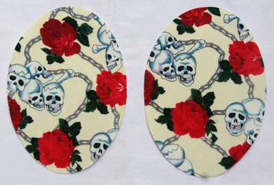 Cream Skulls and Roses Print Elbow Patches by Vintage-Patch small