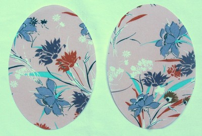 Peach and Blue Floral Print Elbow Patches by Vintage-Patch small