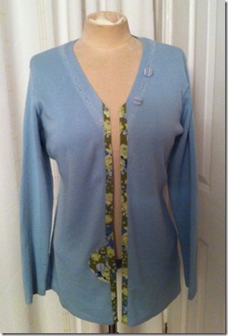 Completed refashion Aqua Sweater to Cardigan Refashion for Vintage-patch.co.uk