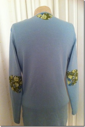 Rear view Aqua Sweater to Cardigan Refashion for Vintage-patch.co.uk