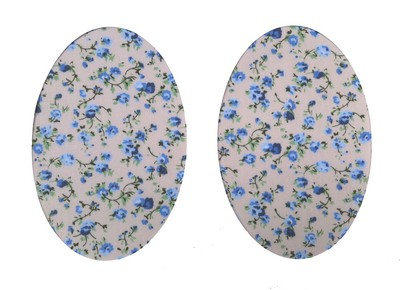135 Vintage-Patch Trailing Rose Blue Cream Elbow Patches
