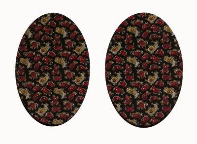 161 Vintage-Patch Black Paisley Print Elbow Knee Patches