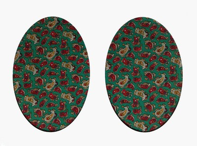 162 Vintage Patch Green Paisley Elbow Knee Patches