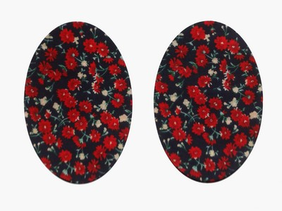 163 Vintage-Patch Navy and Red Daisy Elbow or Knee Patches