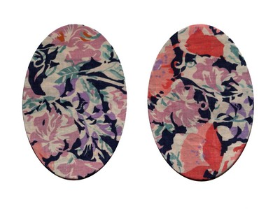 164 Vintage Patch Vintage Navy Peach Large Flowers Elbow Knee Patches