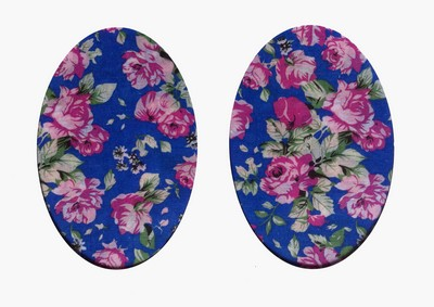 165 Vintage Patch Royal Blue Tea Rose Elbow Knee Patch