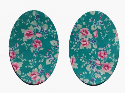 167 Vintage Patch Turquoise Pink Floral Elbow Knee Patch
