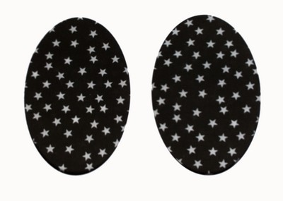 170 Vintage-Patch White Stars on Black Elbow Knee Patches