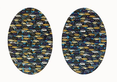 172 Vintage-Patch Blue Traffic Jam Print Oval Elbow Patches