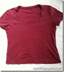 Wine T Shirt Before Vintage Patch Refashion