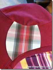 Wine T Shirt Neck and Sleeve Lines Trimmed Vintage Patch Refashion