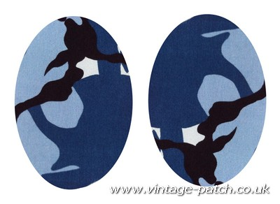 Vintage-Patch Blue Marine Camo Print Elbow Knee Patches