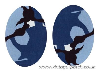 Vintage-Patch Blue Marine Camo Print Elbow Knee Patches