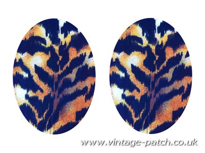 Vintage-Patch Brown Tiger Print Oval Elbow Knee Patches