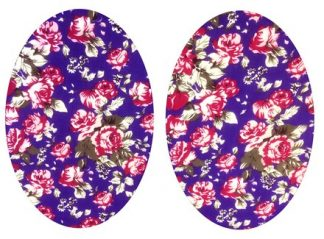 Pair of Iron On Oval Shape Elbow and Knee patches in Purple Tea Rose cotton blend fabric by Vintage-Patch.co.uk