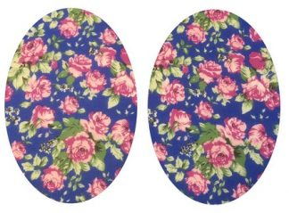 Pair of Iron On Oval Shape Elbow and Knee patches in Royal Blue Tea Rose cotton blend fabric by Vintage-Patch.co.uk