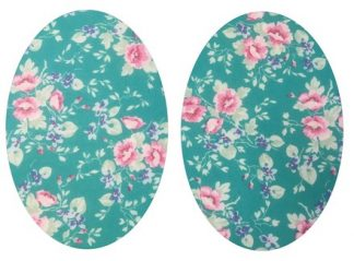 Pair of Iron On Oval Shape Elbow and Knee patches in Turquoise Tea Rose pure cotton fabric by Vintage-Patch.co.uk