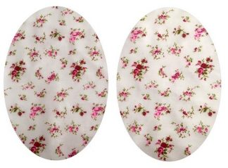 Pair of Iron On Oval Shape Elbow and Knee patches in White and Red Rose Sprig cotton blend fabric