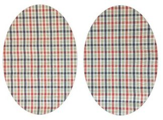 Pair of Iron On Oval Shape Elbow and Knee patches in Black Red Olive Green Check pure cotton fabric
