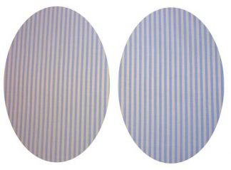 Pair of Iron On Oval Shape Elbow and Knee patches in Blue Yellow Stripe Pure Cotton Fabric