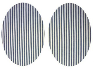 Pair of Iron on Oval Shape Elbow or Knee Patches in Black Yellow Stripe poly cotton blend fabric