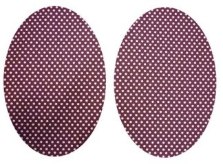Pair of Iron On Oval Shape Elbow and Knee patches in Wine Red and White Polkadot Pure Cotton Fabric