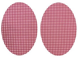 Pair of Iron on Oval Shape Elbow or Knee Patches in Small Red Gingham Check pure cotton fabric
