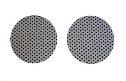 Pair of Iron on Circle Shape Elbow or Knee Patches in Grey Black Polkadot Spot pure cotton fabric