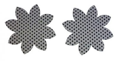 Pair of Iron on Flower Shape Adult Elbow or Knee Patches in Grey Black Polkadot Spot pure cotton fabric