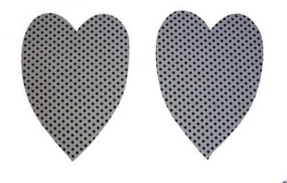 Pair of Iron on Heart Shape Elbow or Knee Patches in Grey Black Polkadot Spot pure cotton fabric