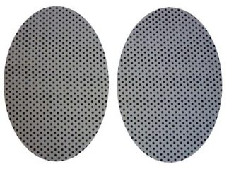 Pair of Iron on Oval Shape Elbow or Knee Patches in Grey Black Polkadot Spot pure cotton fabric