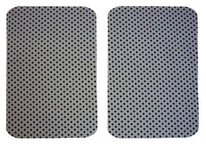 Pair of Iron on Rectangle Shape Elbow or Knee Patches in Grey Black Polkadot Spot pure cotton fabric