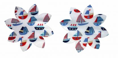 Pair of Iron on Flower Shape Adult Elbow or Knee Patches in White and Blue Sailboats poly cotton blend fabric