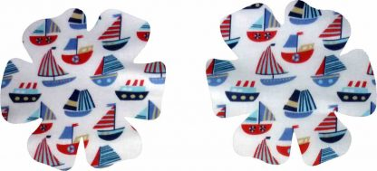 Pair of Iron on Flower Shape Child Elbow or Knee Patches in White and Blue Sailboats poly cotton blend fabric