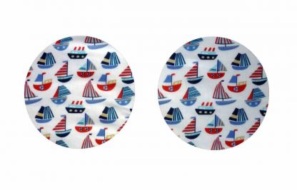 Pair of Iron on Circle Shape Elbow or Knee Patches in White and Blue Sailboats poly cotton blend fabric
