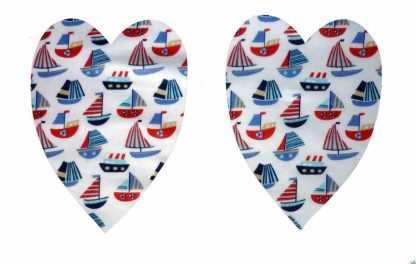 Pair of Iron on Heart Shape Elbow or Knee Patches in White and Blue Sailboats poly cotton blend fabric