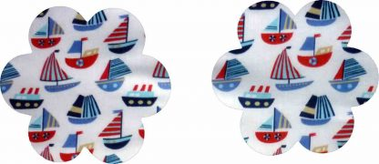 Pair of Iron on Flower Shape Mini Elbow or Knee Patches in White and Blue Sailboats poly cotton blend fabric