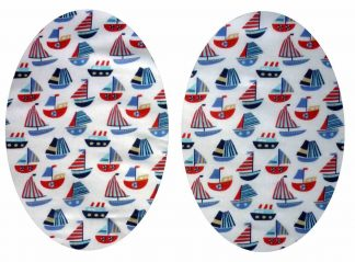 Pair of Iron on Oval Shape Elbow or Knee Patches in White and Blue Sailboats poly cotton blend fabric