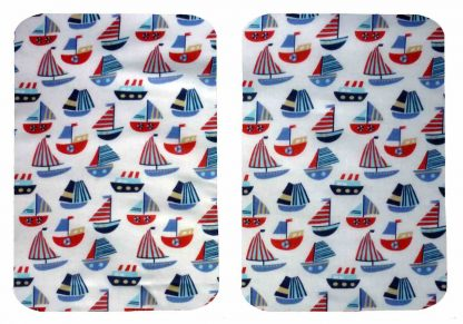 Pair of Iron on Rectangle Shape Elbow or Knee Patches in White and Blue Sailboats poly cotton blend fabric