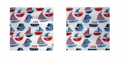 Pair of Iron on Square Shape Elbow or Knee Patches in White and Blue Sailboats poly cotton blend fabric