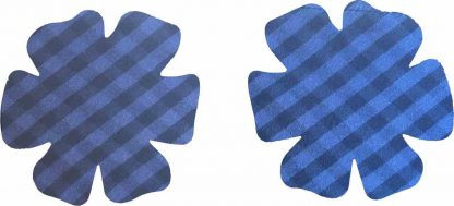 Pair of Iron on Flower Shape Child Elbow or Knee Patches in Blue and Black Gingham pure cotton fabric