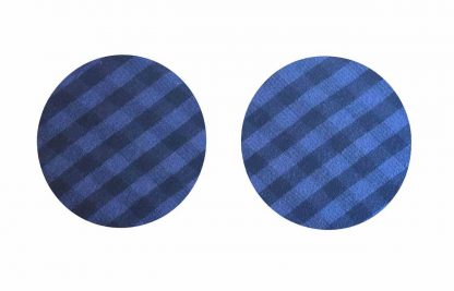 Pair of Iron on Circle Shape Elbow or Knee Patches in Blue and Black Gingham pure cotton fabric