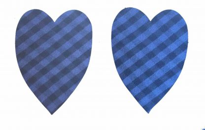 Pair of Iron on Heart Shape Elbow or Knee Patches in Blue and Black Gingham pure cotton fabric