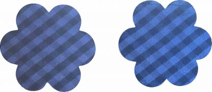 Pair of Iron on Flower Shape Mini Elbow or Knee Patches in Blue and Black Gingham pure cotton fabric